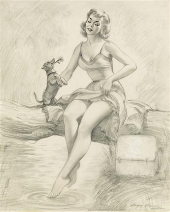 HARRY EKMAN. (PIN-UP / DOGS) Dachshunds and Daisies.