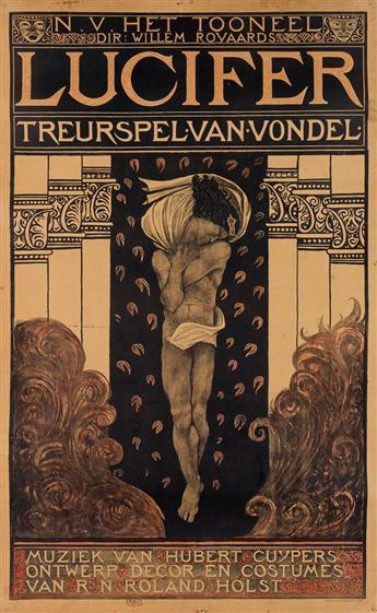 RICHARD N. ROLAND HOLST (1868-1938). LUCIFER / TREURSPEL VAN VONDEL. 1910. 48x29 inches, 123x75 cm. Tresling & Co., Amsterdam.