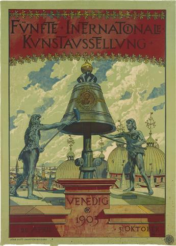 AUGUSTO SEZANNE (1856-1935). FÜNFTE INTERNATIONALE KUNSTAUSSTELLUNG / VENEDIG. 1903. 27x19 inches, 68x49 cm. Chappuis, Bologna.