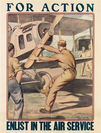 OTHO CUSHING (1871-1942). FOR ACTION / ENLIST IN THE AIR SERVICE. 25x19 inches, 64x49 cm. [Forbes, Boston.]