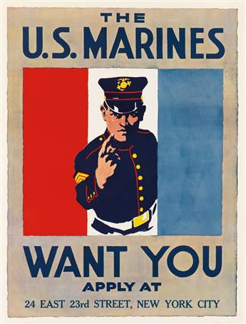 DESIGNER UNKNOWN. THE U.S. MARINES WANT YOU. 1917. 28x21 inches, 71x54 cm.
