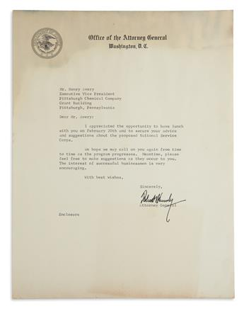(JOHN F. KENNEDY.) ROBERT F. KENNEDY Typed Letter Signed, to Henry Avery, expressing appreciation for his sugges...