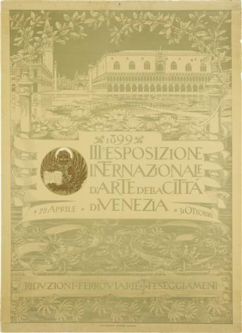 AUGUSTO SEZANNE (1856-1935). III. ESPOSIZIONE INTERNAZIONALE DARTE DELLA CITTA DI VENEZIA. 1899. 28x20 inches, 71x52 cm. Ist. Ital. d