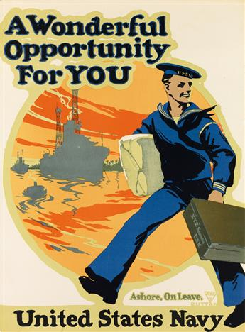 CHARLES EDWIN RUTTAN (1884-1939). A WONDERFUL OPPORTUNITY FOR YOU / UNITED STATES NAVY. 1917. 27x20 inches, 70x52 cm. [New-Art Lithogra