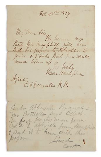 WADE HAMPTON. Brief Autograph Letter Signed, as Governor, to an agent of the Greenville & C[olumbia] Railroad: ...