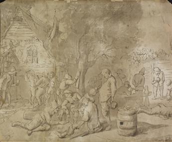 DUTCH SCHOOL, 18TH CENTURY A Village Scene with Drunken Revelers.