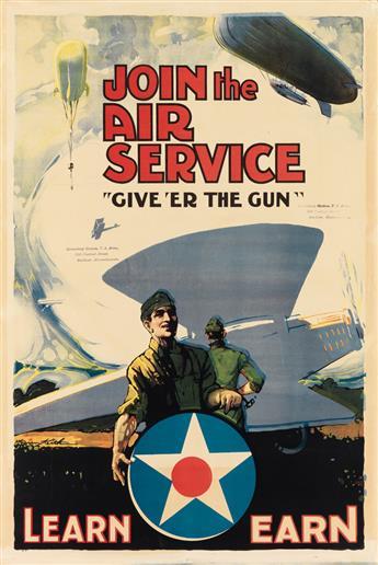 WARREN KEITH (DATES UNKNOWN). JOIN THE AIR SERVICE / GIVE ER THE GUN. Circa 1918. 30x19 inches, 76x50 cm. Edwards & Deutsch Litho. C
