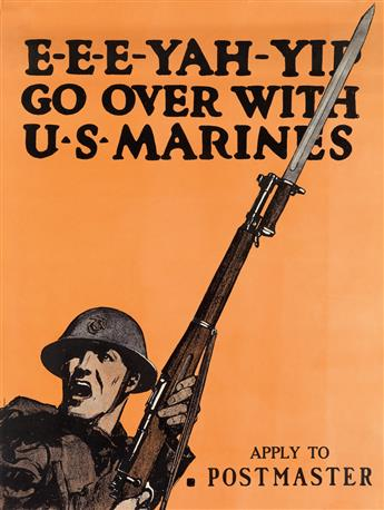 CHARLES BUCKLES FALLS (1874-1960). E - E - E - YAH - YIP / GO OVER WITH U.S. MARINES. 1917. 27x21 inches, 70x53 cm.
