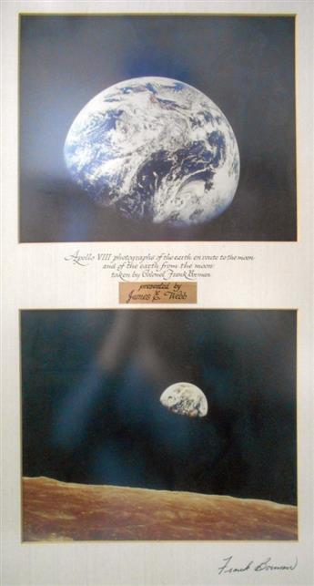 (ASTRONAUTS--APOLLO 8.) FRANK BORMAN. Pair of color Photographs matted together and Signed on the mat, lower right, each showing Earth