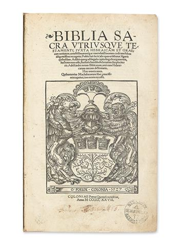 BIBLE IN LATIN.  Biblia sacra utriusque testamenti.  1527