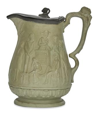 (SLAVERY AND ABOLITION.) Abolitionist pitcher with scenes inspired by Uncle Toms Cabin.