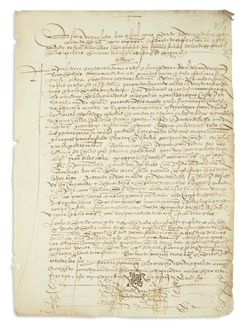 (MEXICAN MANUSCRIPTS.) Royal decree protecting the Mexican estate of Cortés while he was in Spain.