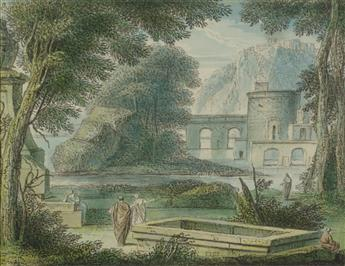 LOUIS FABRICIUS DUBOURG (Amsterdam 1693-1775 Amsterdam) Three classical landscape watercolors.