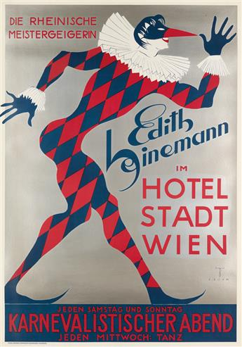 ERNST BÖHM (1890-1963). EDITH HEINEMANN IM HOTEL STADT WIEN. 1935. 47x33 inches, 120x83 cm. Franz Scheiner Graphische Kunstanstalt, Wur