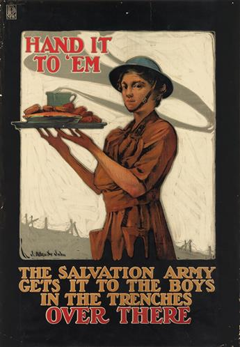 J. ALLEN ST. JOHN (1872-1957). THE SALVATION ARMY GETS IT TO THE BOYS IN THE TRENCHES / OVER THERE. Circa 1917. 39x27 inches, 99x68 cm.
