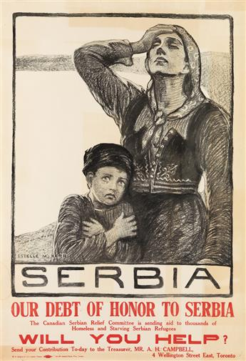 ESTELLE M. KERR (1897-1971). SERBIA / OUR DEBT OF HONOR TO SERBIA. 1916. 32x21 inches, 83x55 cm. W.S. Johnson & Coy, Toronto.