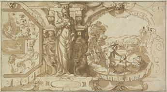 FLORENTINE SCHOOL, 16TH CENTURY A Design for a Decorative Frieze with Prudence and Christ as the Gardener.