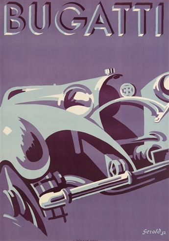 GEROLD HUNZIKER (1894-1980). BUGATTI. 1932. 50x35 inches, 129x90 cm. A. Trüb & Cie., Aarau.