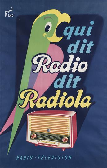 RENÉ RAVO (1904-1998). QUI DIT RADIO DIT RADIOLA. Circa 1955. 45x29 inches, 50x75 cm. Bedos & Cie., Paris.