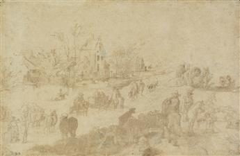 JAN BRUEGEL THE YOUNGER (Brussels 1601-1678 Antwerp) A Country Landscape at the Edge of a Village with a Herd of Cattle and Figures on