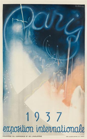 EUGENE BEAUDOIN (1898-1983) & MARCEL LODES (1891-1978). PARIS 1937 / EXPOSITION INTERNATIONALE. 1936. 39x24 inches, 99x61 cm. Jules Sim