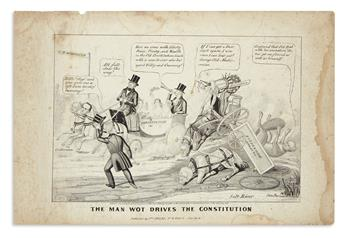 (PRESIDENTS--1844 CAMPAIGN.) Clay, Edward Williams; artist. The Man Wot Drives the Constitution.