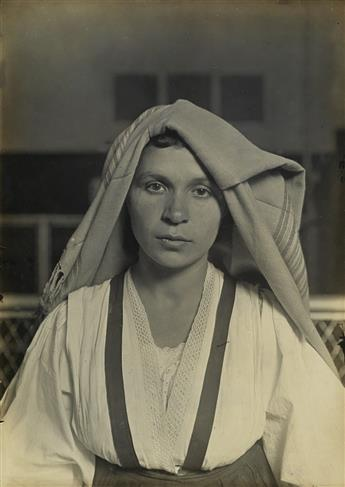 HINE, LEWIS W. (1874-1940) An Albanian Woman from Italy at Ellis Island.