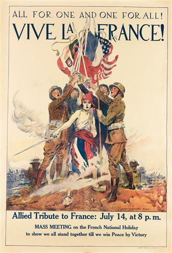 JAMES MONTGOMERY FLAGG (1870-1960). ALL FOR ONE AND ONE FOR ALL! / VIVE LA FRANCE! 1918. 40x27 inches, 101x70 cm. Carey Print Lith., Ne