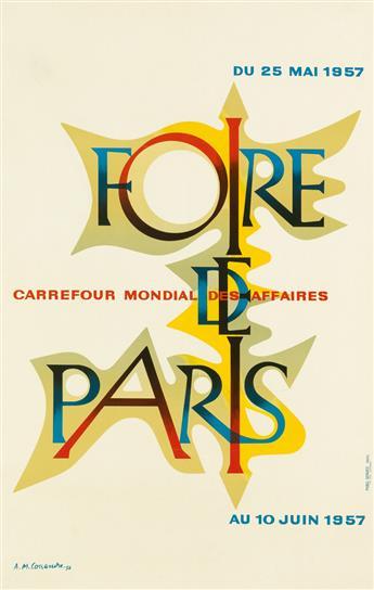 ADOLPHE MOURON CASSANDRE (1901-1968). FOIRE DE PARIS. 1957. 38x24 inches, 97x61 cm. Publi-Service, Paris.