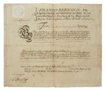 FRANCIS BERNARD. Partly-printed Document Signed, Fra Bernard, as Governor, military commission appointing Jona...