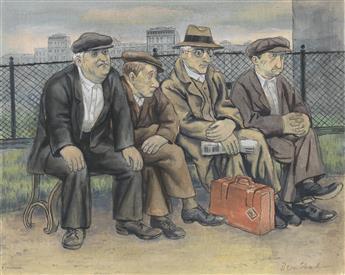 BEN SHAHN Men on a Bench.