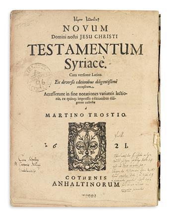 BIBLE IN SYRIAC.  Novum . . . Testamentum Syriace.  1621