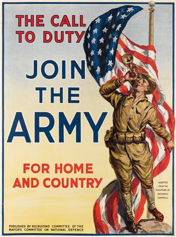 DESIGNER UNKNOWN. THE CALL TO DUTY / JOIN THE ARMY / FOR HOME AND COUNTRY. 1917. 40x30 inches, 101x76 cm. American Lithographic Co., Ne