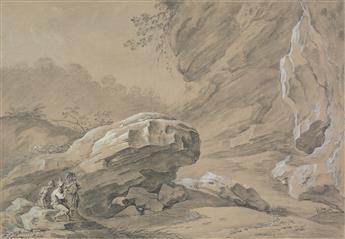 CARLO LABRUZZI (Rome 1748-1817 Perugia) A Landscape near Salerno with Rock Cliffs.