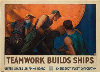 WILLIAM DODGE STEVENS (1870-1942). TEAMWORK BUILDS SHIPS. Circa 1918. 36x49 inches, 91x126 cm. Forbes, Boston.