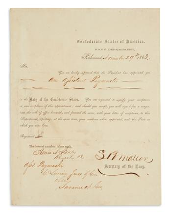 (CIVIL WAR--CABINET MEMBERS--C.S.A.) Group of 8 items Signed, or Signed and Inscribed. Format and condition vary...