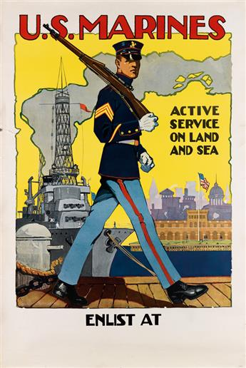 SIDNEY H. RIESENBERG (1885-1972). U.S. MARINES / ACTIVE SERVICE ON LAND AND SEA. 42x28 inches, 106x71 cm.