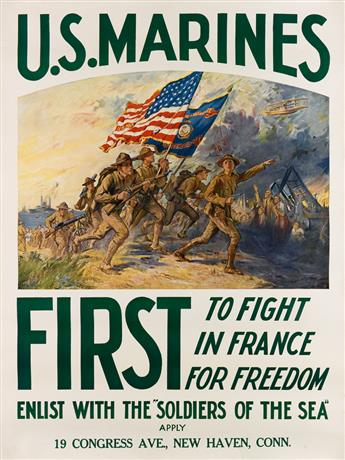FREDERICK COFFAY YOHN (1875-1933). U.S. MARINES / FIRST TO FIGHT IN FRANCE FOR FREEDOM. Circa 1917. 40x30 inches, 101x76 cm.