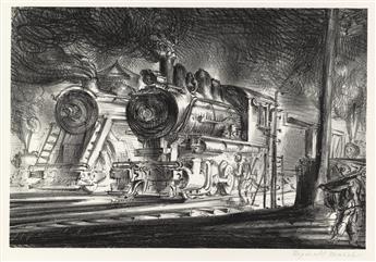 REGINALD MARSH Switch Engines, Erie Yards, Jersey City, Stone No. 3.