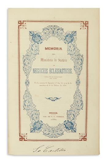 (MEXICO.) Volume of reports on the creation of the mint, canal construction, crime, and more.