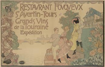 LUCIEN LEDUC (DATES UNKNOWN). RESTAURANT FOUQUEUX / ST. AVERTIN - TOURS. Circa 1900. 47x72 inches, 120x184 cm. Camis, Paris.