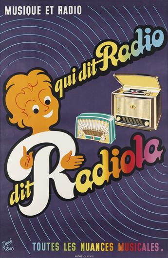 RENÉ RAVO (1904-1998). MUSIQUE ET RADIO / QUI DIT RADIO DIT RADIOLA. Circa 1965. 45x30 inches, 115x76 cm. Bedos & Cie., Paris.