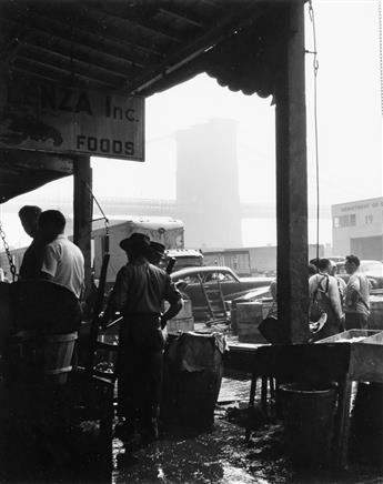 ANDREAS FEININGER (1906-1999) Fulton Fish Market and Brooklyn Bridge * Sheeps Meadow, New York.