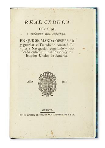 (MISSISSIPPI RIVER.) Real cedula . . . tratado de amistad, límites y navegacion concluido y ratificado