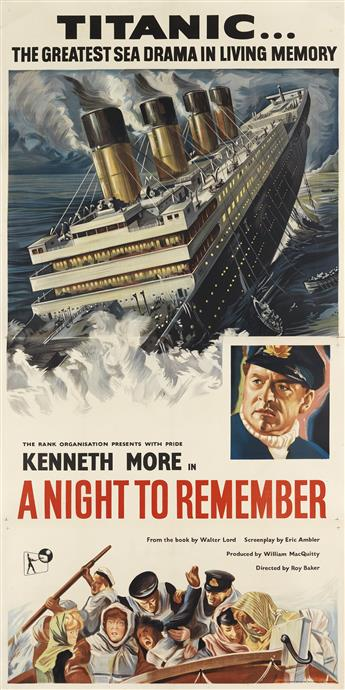 DESIGNER UNKNOWN. TITANIC . . . / A NIGHT TO REMEMBER. 1958. 80x40 inches, 203x101 cm. W.E. Berry, Ltd., Bradford.