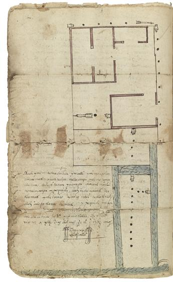 (MEXICAN MANUSCRIPTS.) Illustrated file on a land dispute between a ranch owner and his Nahua neighbors.