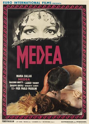 DESIGNER UNKNOWN. MEDEA / MARIA CALLAS. 1969. 54x39 inches, 139x99 cm. Rotolitografica, Rome.