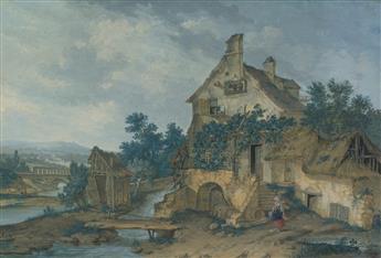 JEAN-BAPTISTE-CICÉRON LESUEUR (Paris 1794-1883 Paris) A River Landscape with a Country Inn near Charenton.