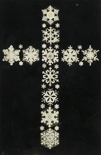 WILSON A. BENTLEY (1865-1931) Montage of snowflakes arranged in a cross.
