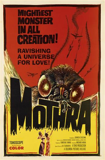 DESIGNER UNKNOWN. MOTHRA / MIGHTIEST MONSTER IN ALL CREATION. 1962. 41x27 inches, 104x68 cm.